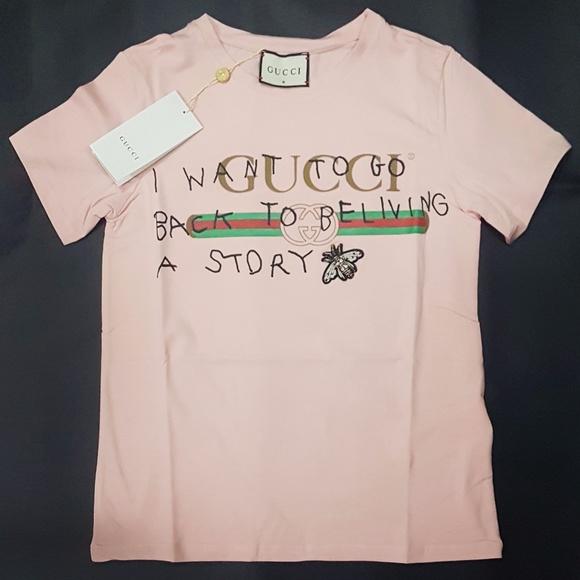 a1eed65a4 Gucci Tops | Women Tee Tshirt Pink | Poshmark